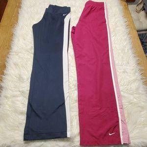 2 Pair Nike Pants Sz S Pink/Navy